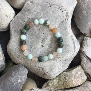 Handmade Beaded Bracelet Seaglass Style